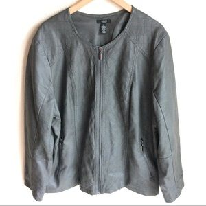 Moto Style Vegan Leather Jacket Gray Plus Size 3X